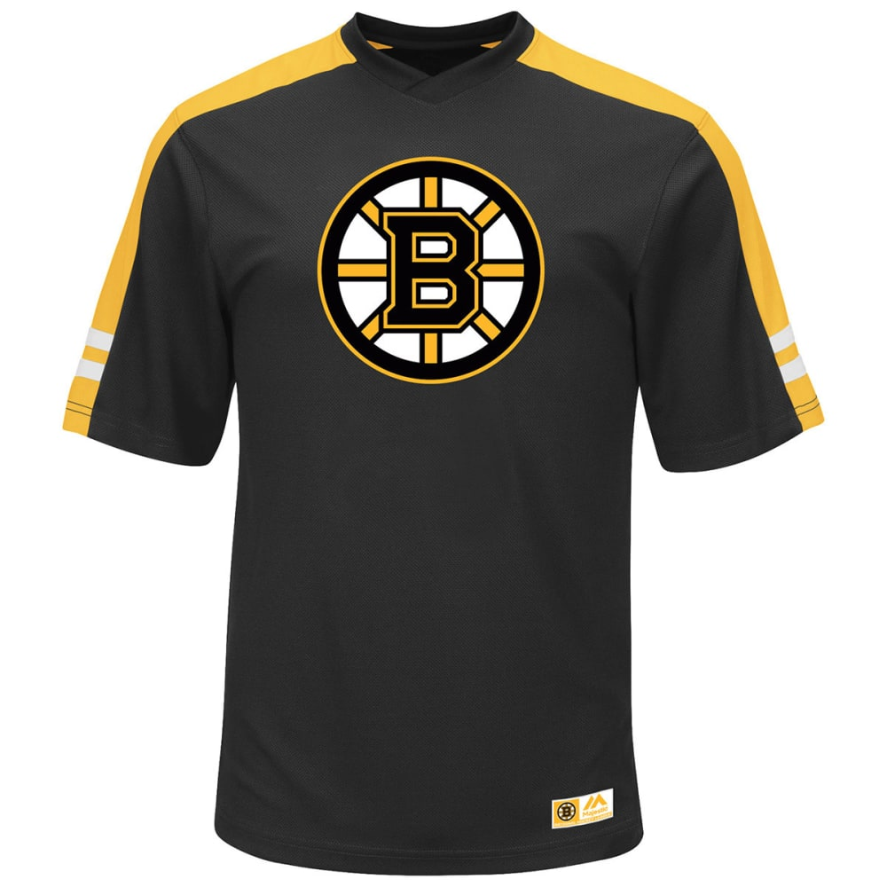 BOSTON BRUINS Men's Quick Play Synthetic V-Neck Tee - BLACK