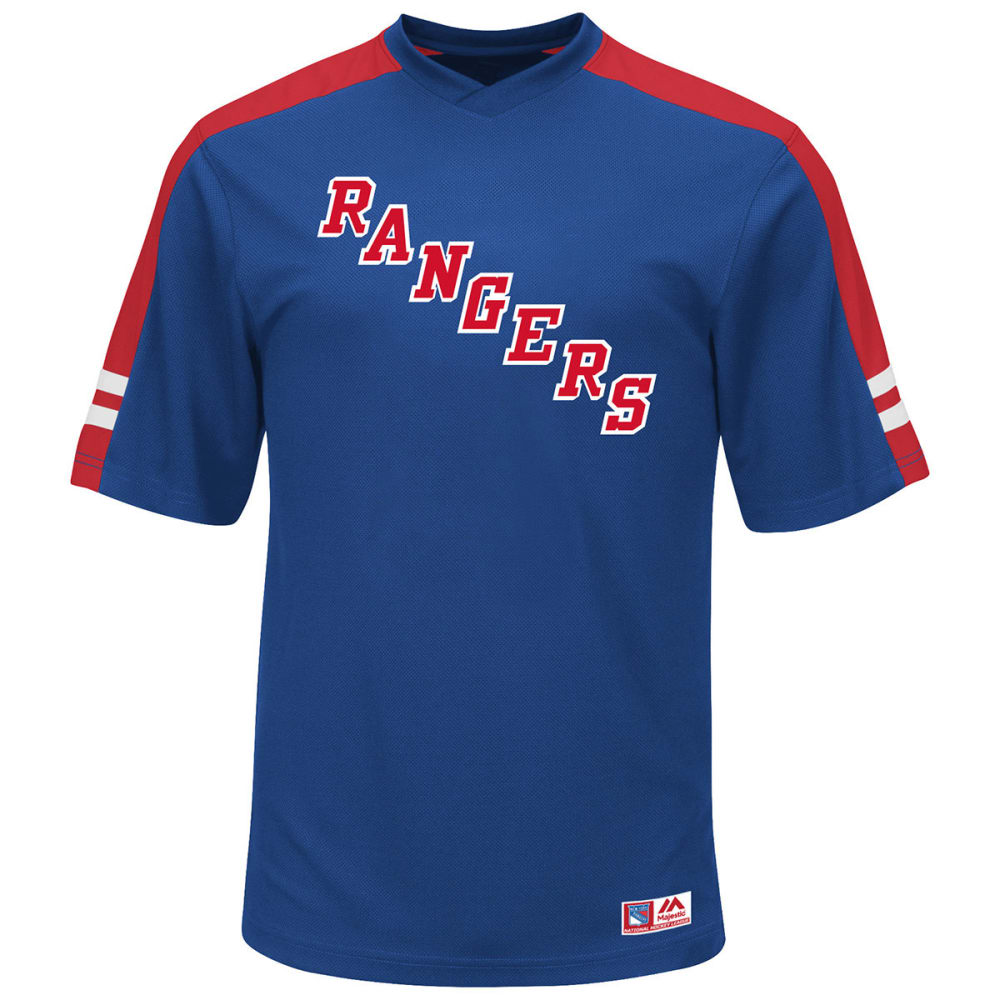 NEW YORK RANGERS Men's Quick Play Synthetic V-Neck Tee - ROYAL BLUE
