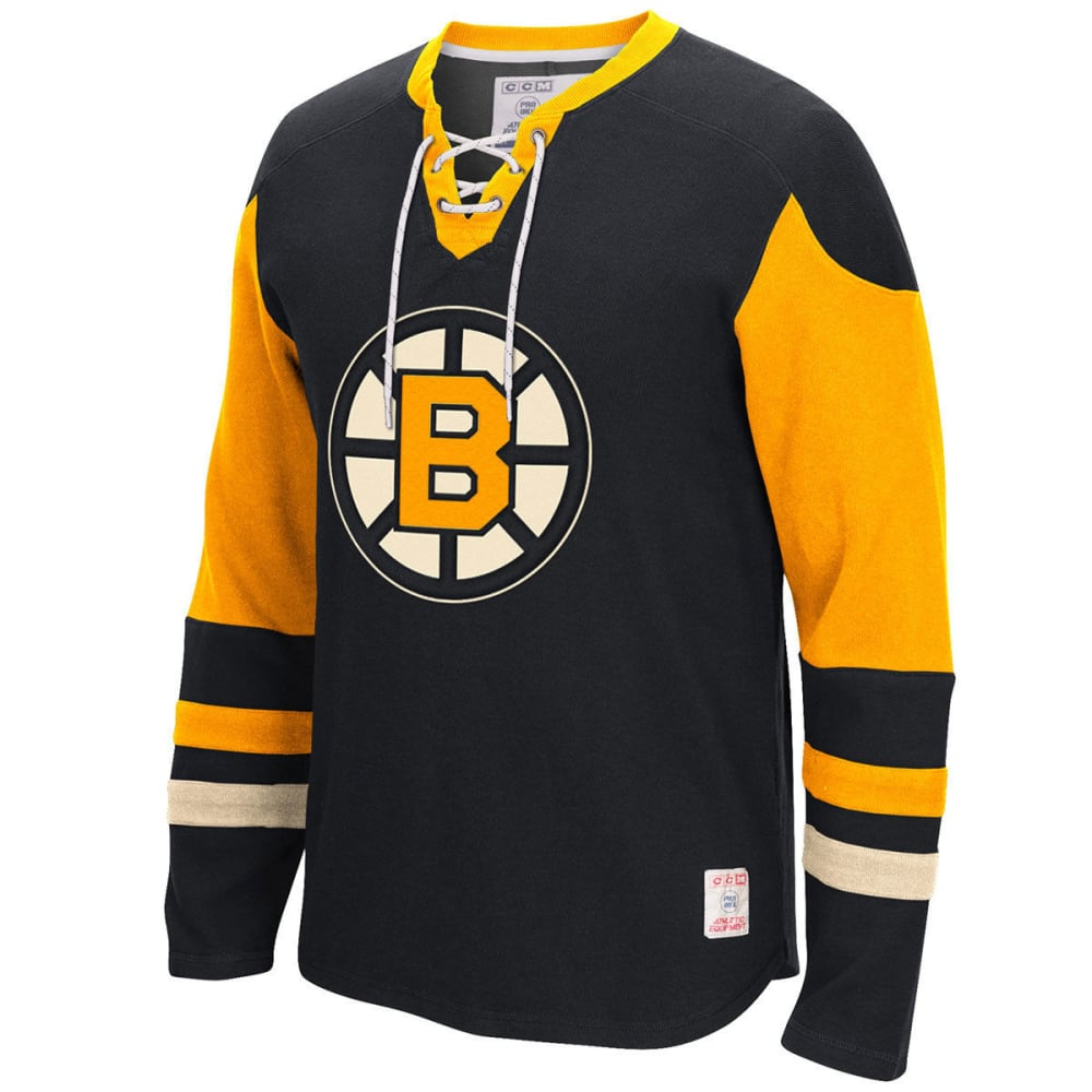 BOSTON BRUINS Men's Classic CCM Jersey Crewneck Sweatshirt - GREY HOUNDSTOOTH