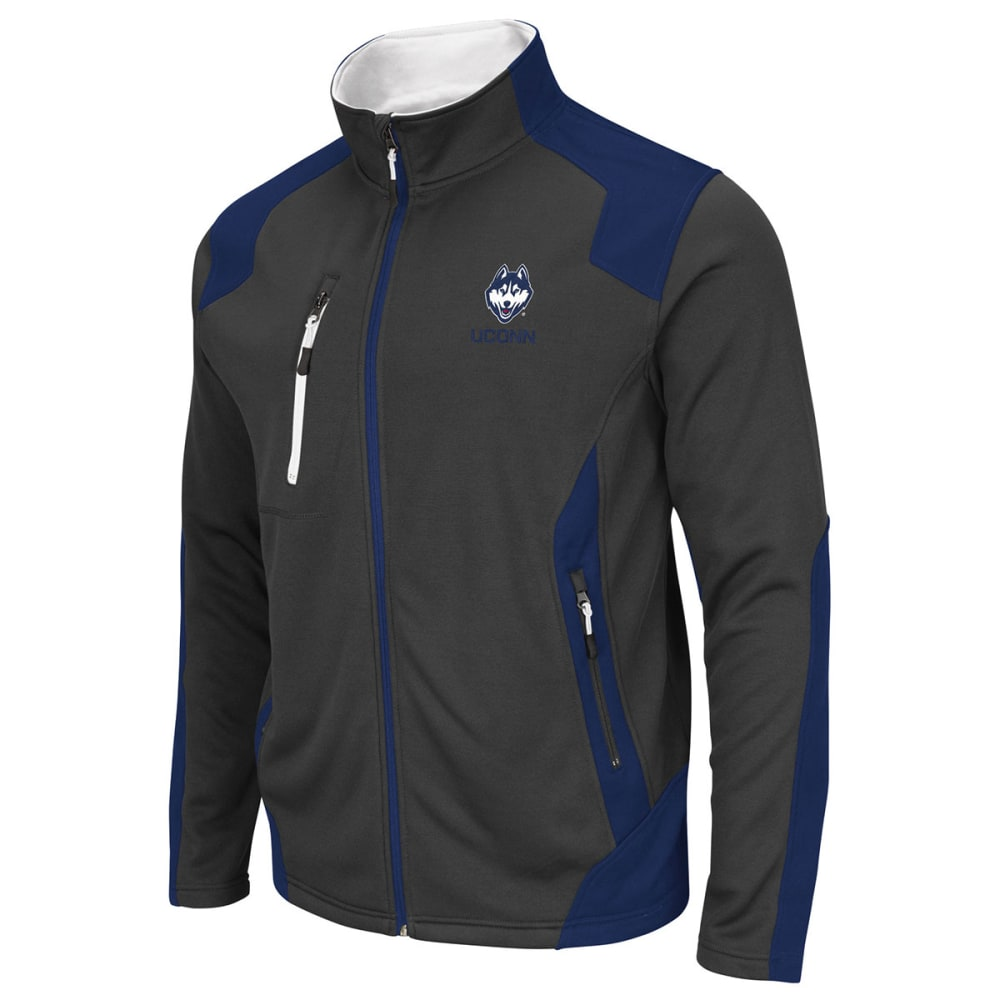 UCONN HUSKIES Men's Double Coverage Full Zip Jacket - BLACK/STEEL/TROPICAL