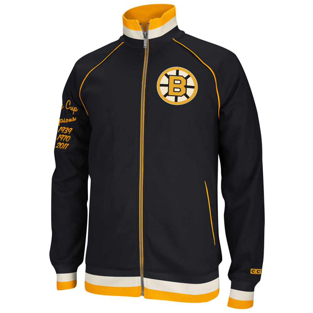 REEBOK Men's Boston Bruins CCM Track Jacket - BLACK/YELLOW