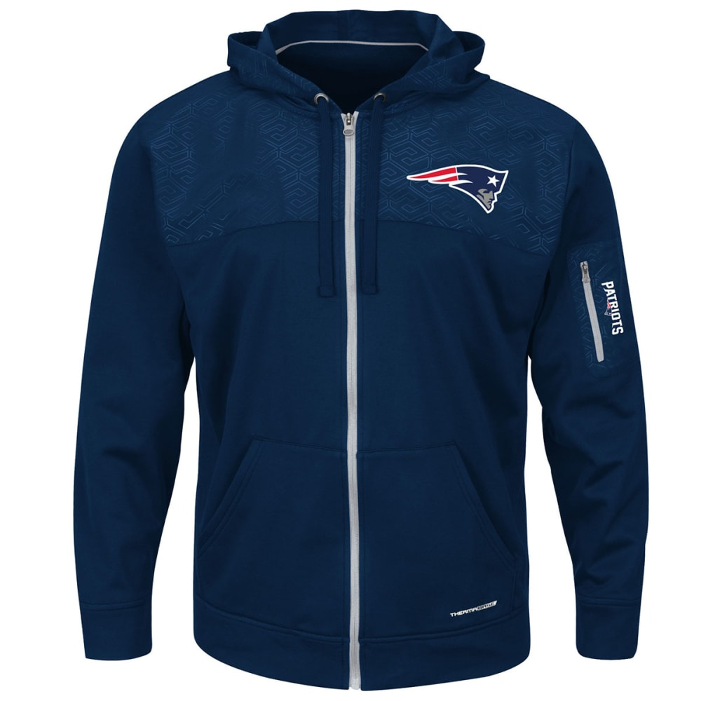 NEW ENGLAND PATRIOTS Men's Ready for Action Full-Zip Hoodie - NAVY
