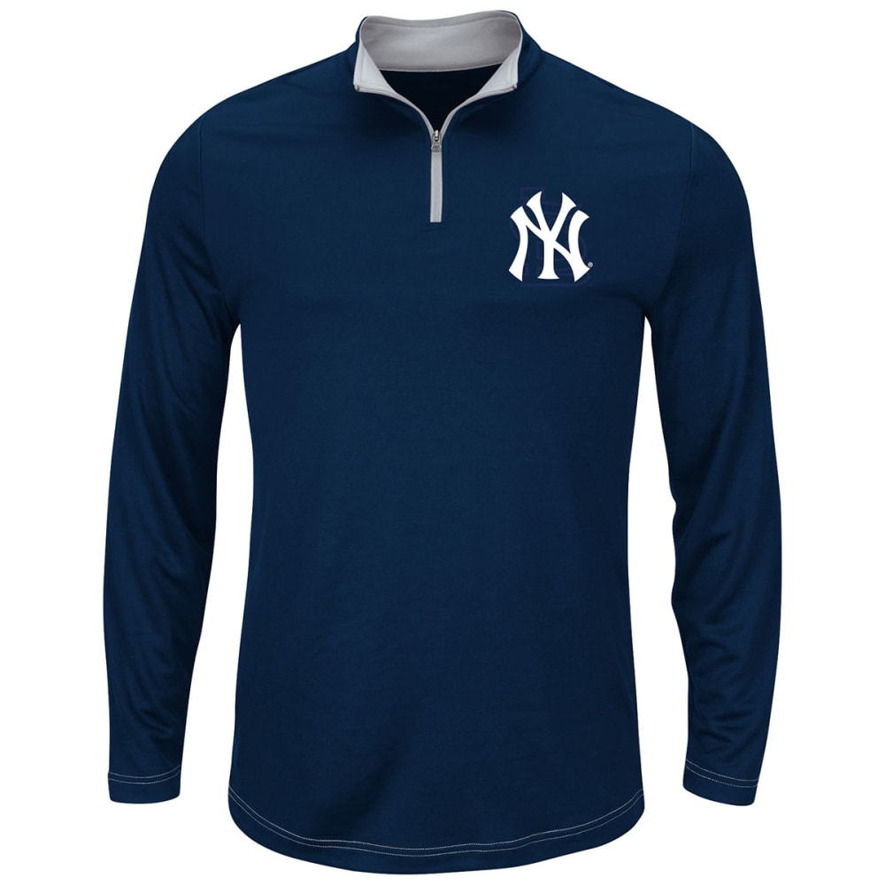 NEW YORK YANKEES Men's Ready And Willing 1/4 Zip Pullover Fleece - NAVY