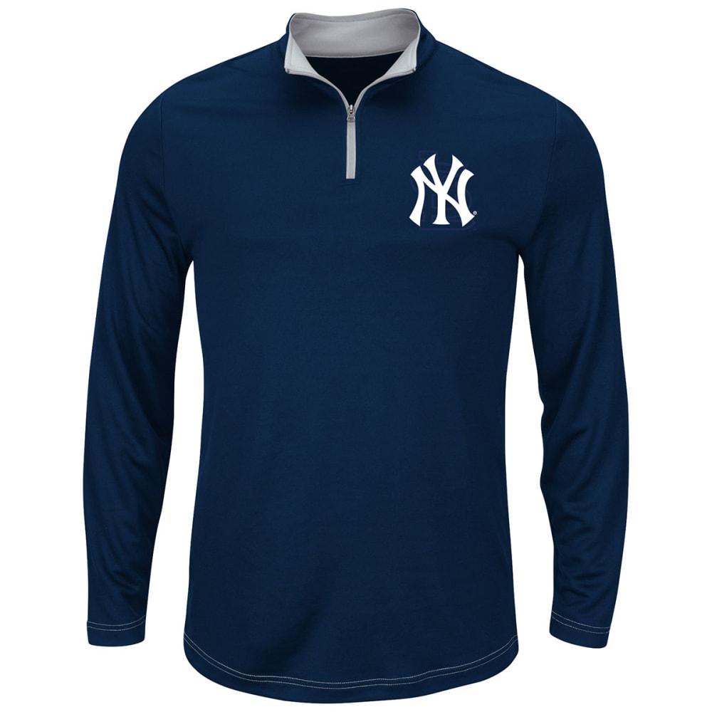 NEW YORK YANKEES Men's Ready And Willing 1/4 Zip Pullover Fleece - NAVY