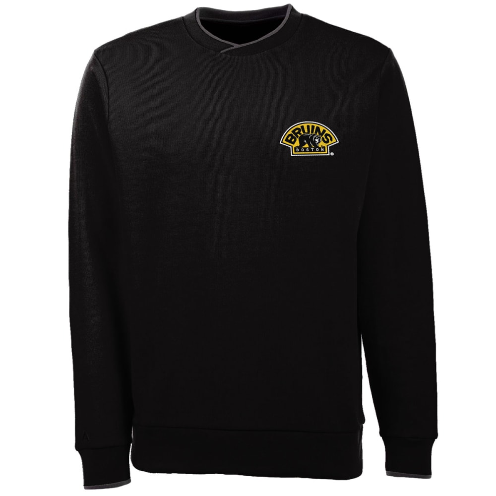 BOSTON BRUINS Men's Executive Crew Fleece - GREY HOUNDSTOOTH