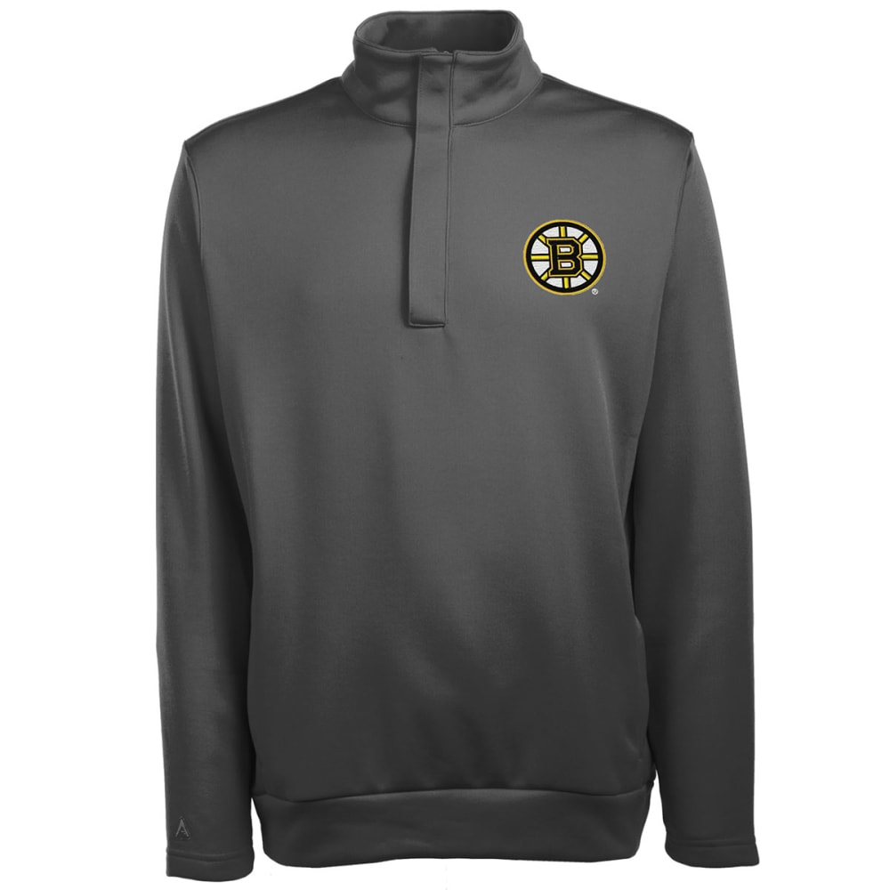 BOSTON BRUINS Men's Victor Quarter-Zip Pullover - GREY HOUNDSTOOTH