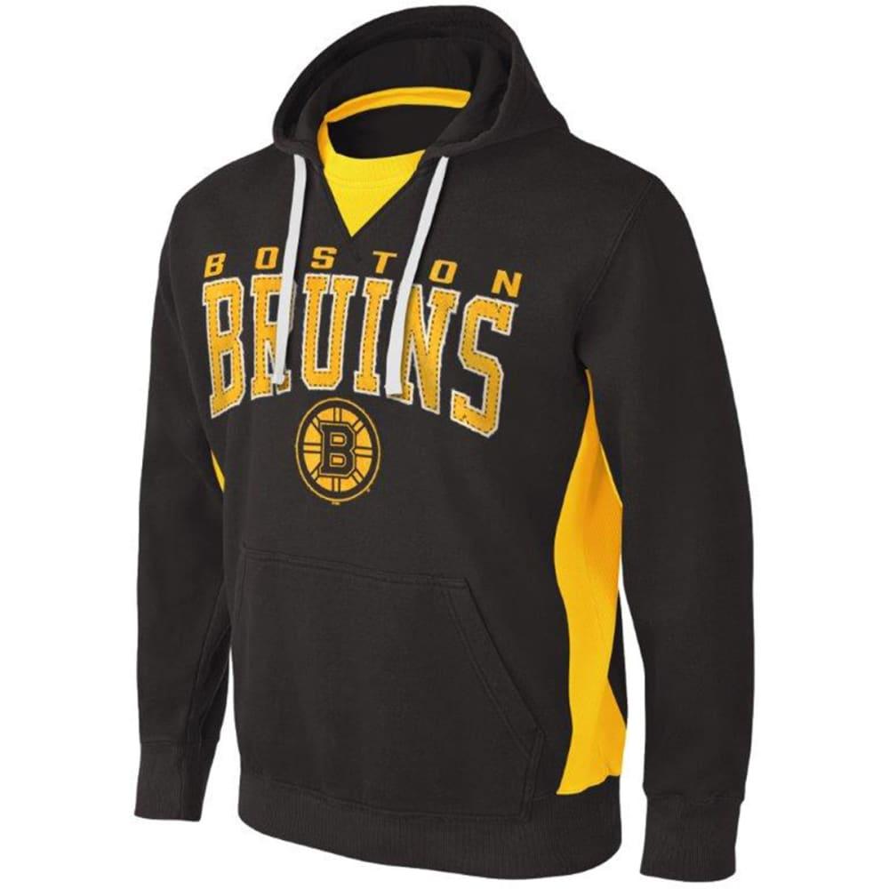 BOSTON BRUINS Men's Play Action Pullover Fleece Hoodie - GREY HOUNDSTOOTH