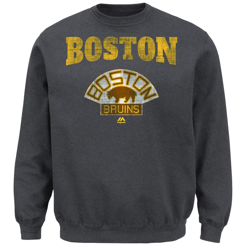 BOSTON BRUINS Men's Vintage All About Team Fleece Crewneck - CHARCOAL