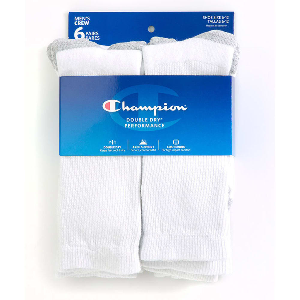 CHAMPION Men's Crew Socks, 6-Pack - WHITE CH600