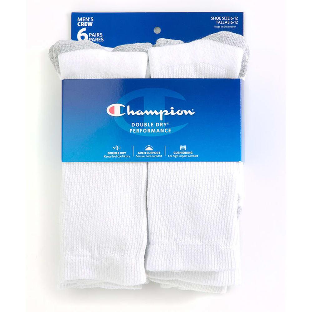 CHAMPION Men's Crew Socks, 6-Pack - WHITE CH600