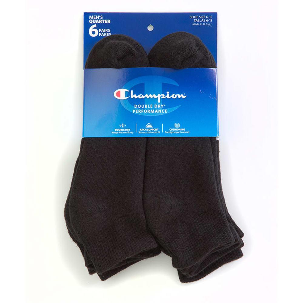 CHAMPION Men's Quarter Socks, 6-Pack - BLACK CH601-BLK