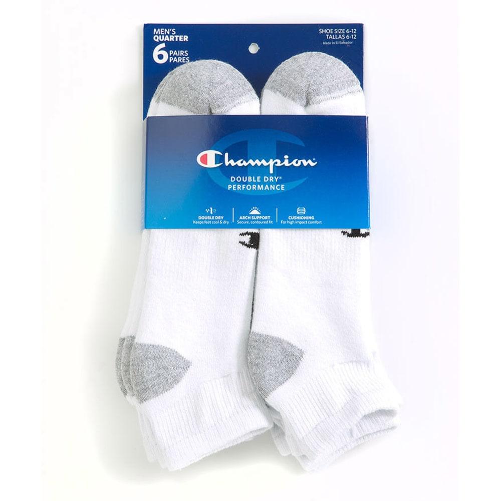 CHAMPION Men's Quarter Socks, 6-Pack - WHITE CH3601