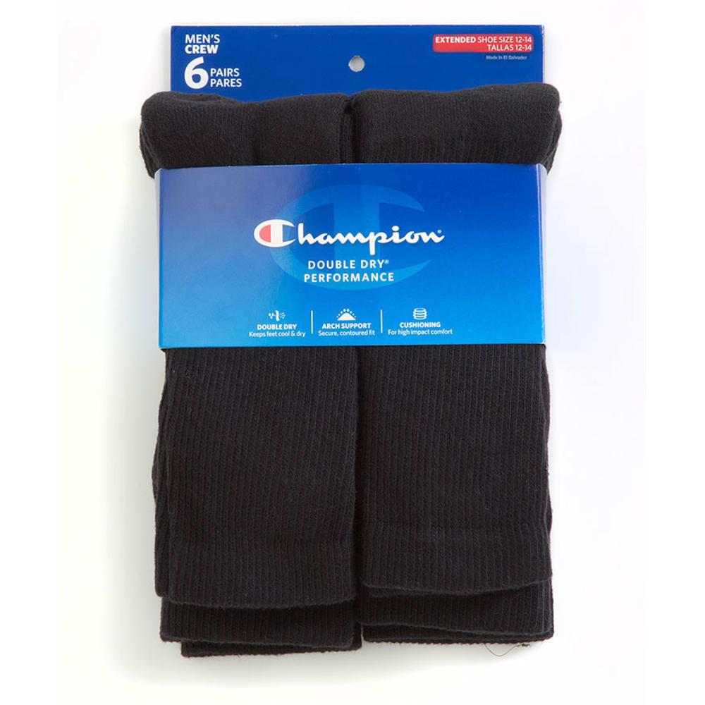 CHAMPION Men's Big and Tall Crew Socks, 6-Pack - BLACK CH600P
