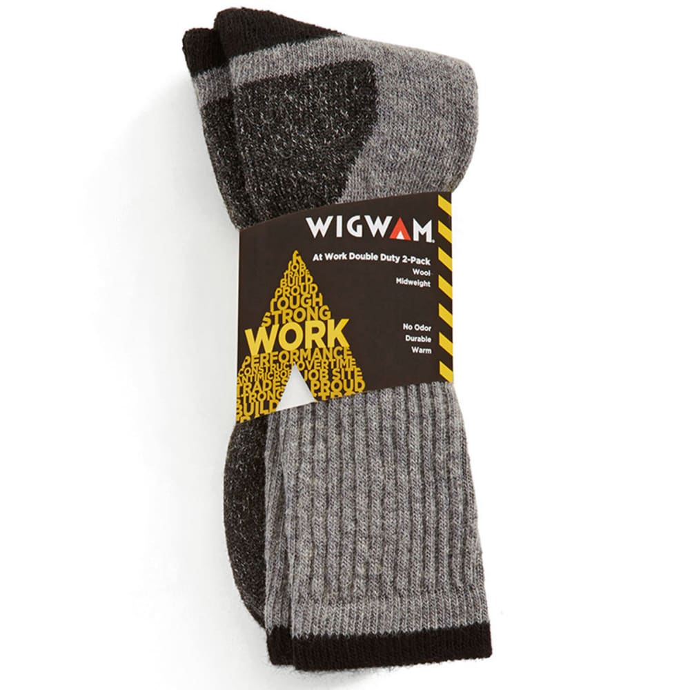 WIGWAM Men's At Work Double Duty Socks, 2-Pack - LIGHT GREY 072