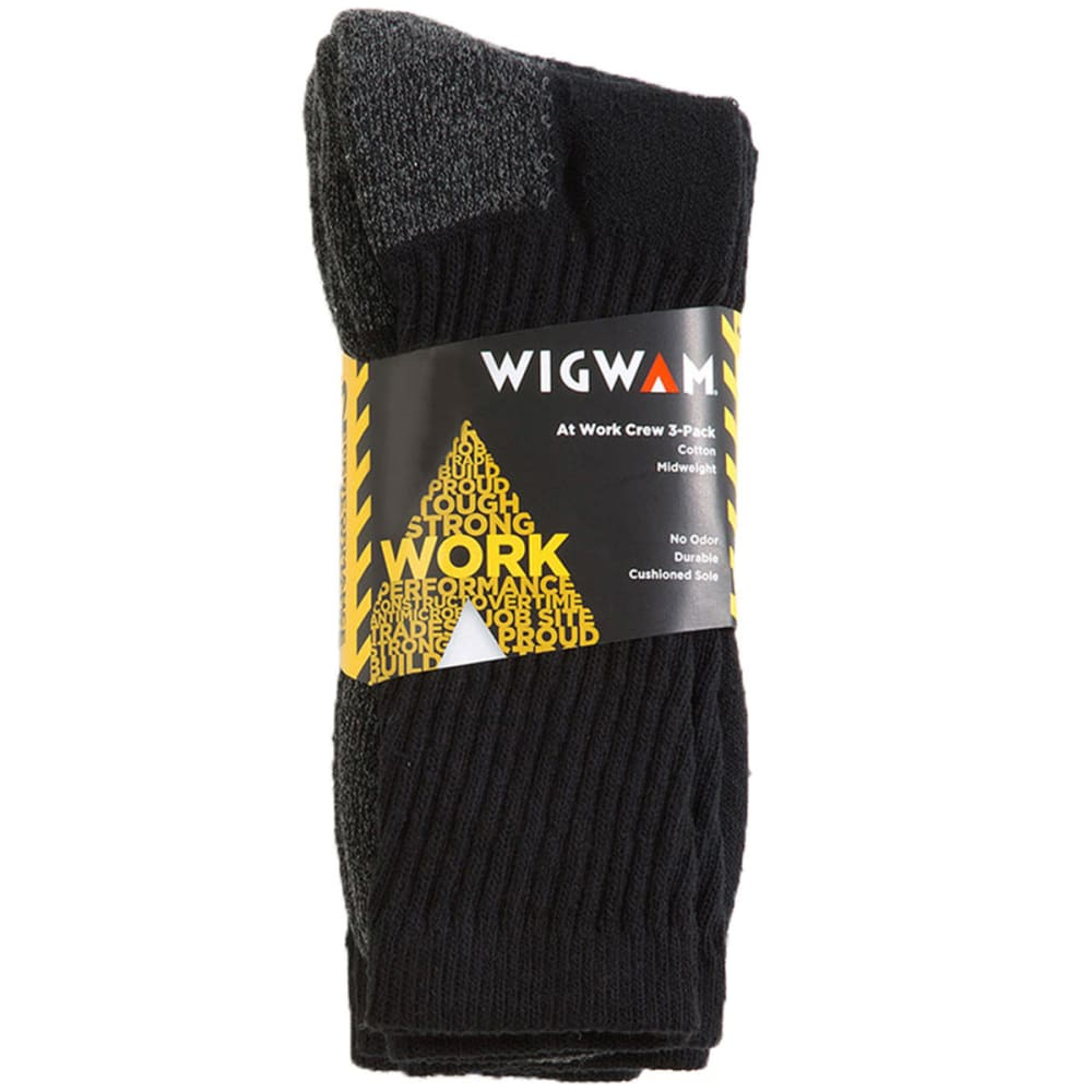 WIGWAM Men's At Work Crew Socks, 3-Pack - BLACK 052