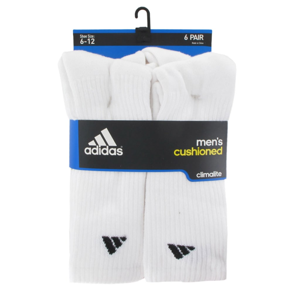 ADIDAS Men's Athletic Crew Socks, 6-Pack - WHITE