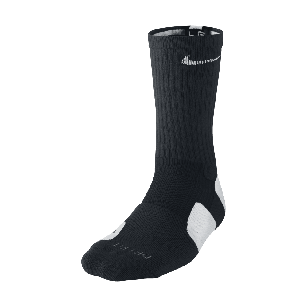 NIKE Boys' Elite Crew Basketball Socks - BLACK/NEPTUNE