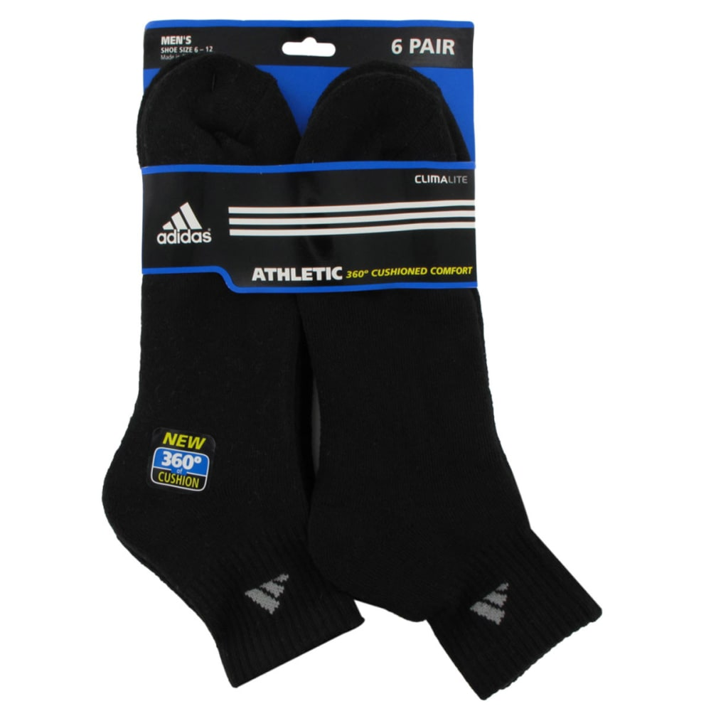 ADIDAS Men's Athletic Quarter Socks, 6-Pack - BLACK