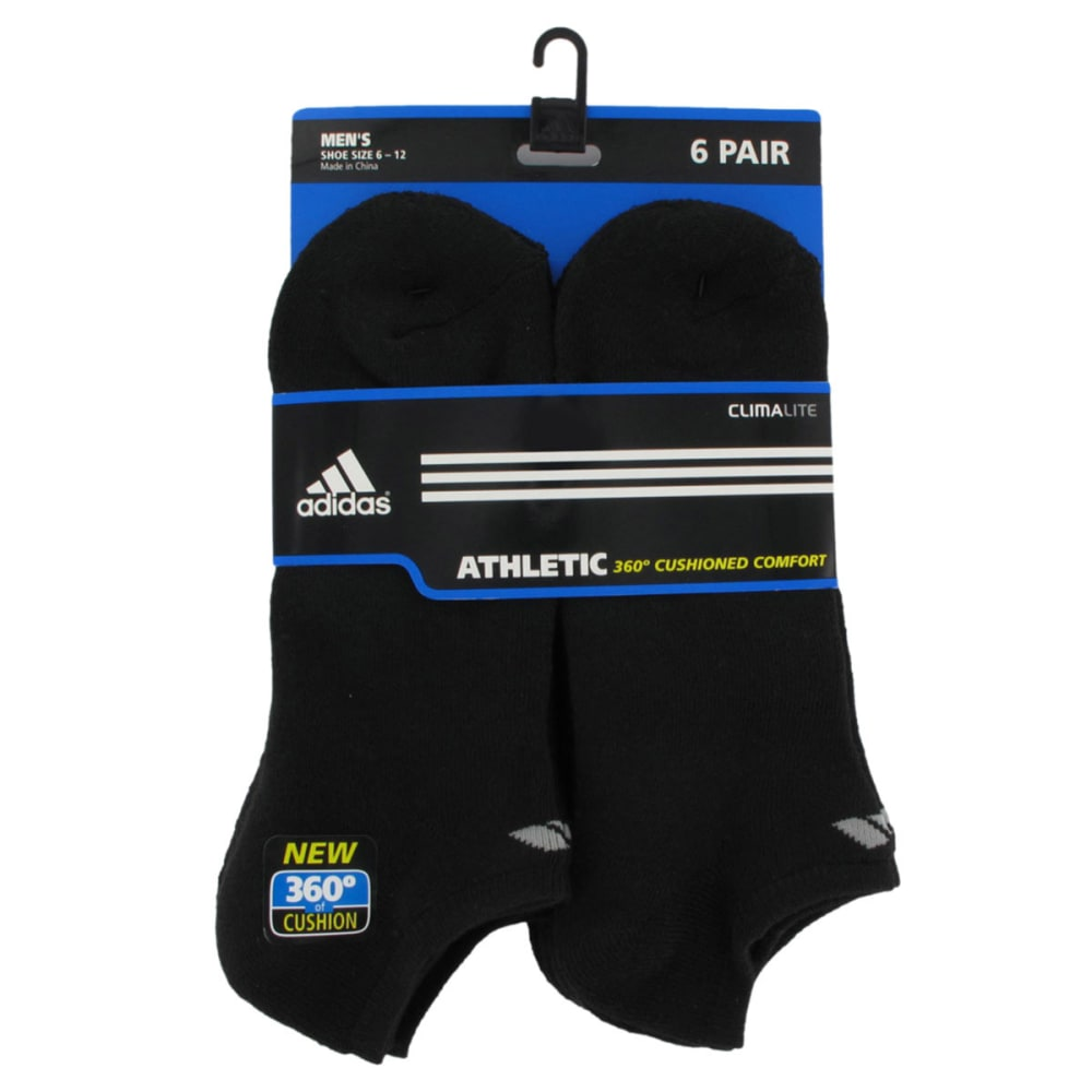 ADIDAS Men's Athletic No Show Socks, 6-Pack - BLACK