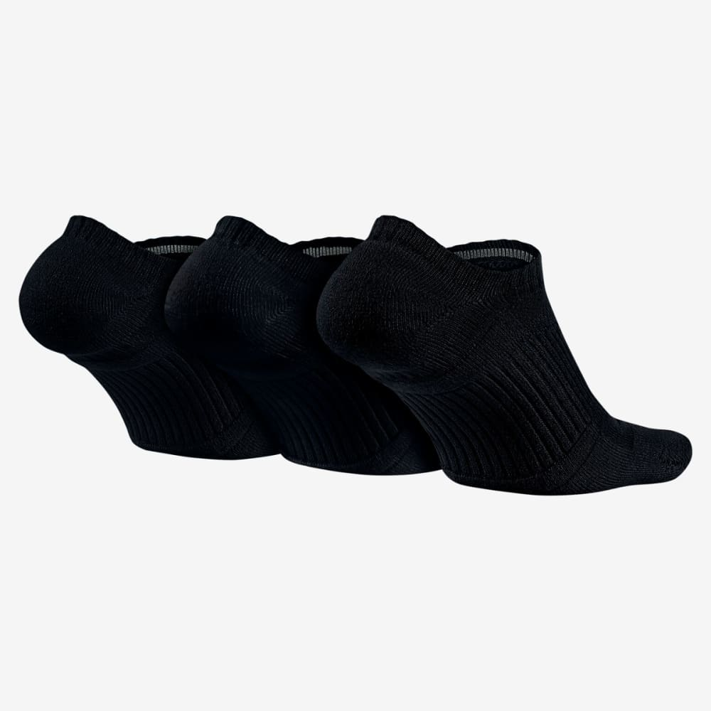 NIKE Unisex Dri-Fit No Show Socks, 3 Pairs - BLACK 001 LARGE