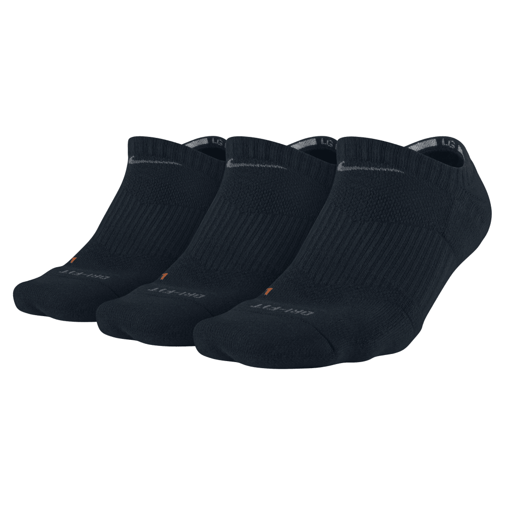 NIKE Unisex Dri-Fit No Show Socks, 3 Pairs - BLACK 001 LARGE