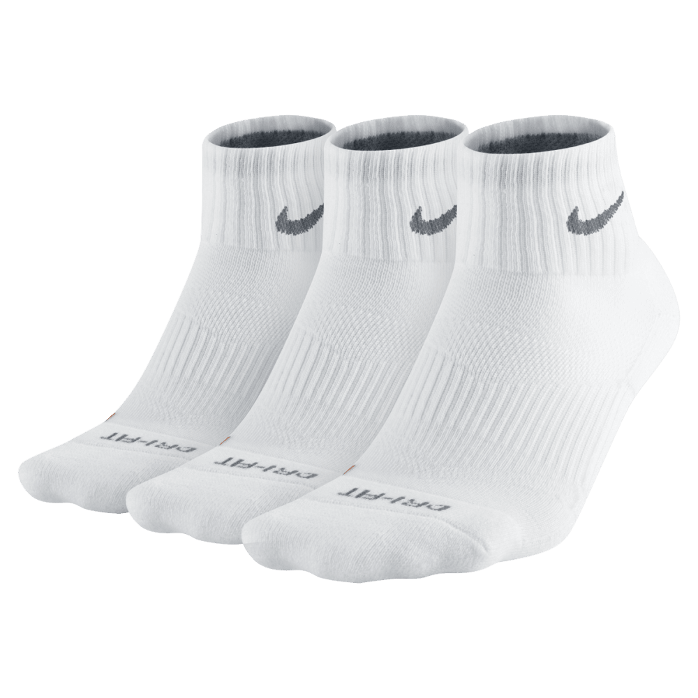 NIKE Men's Dri Fit Quarter Socks, 3 Pairs - WHITE 101 LARGE