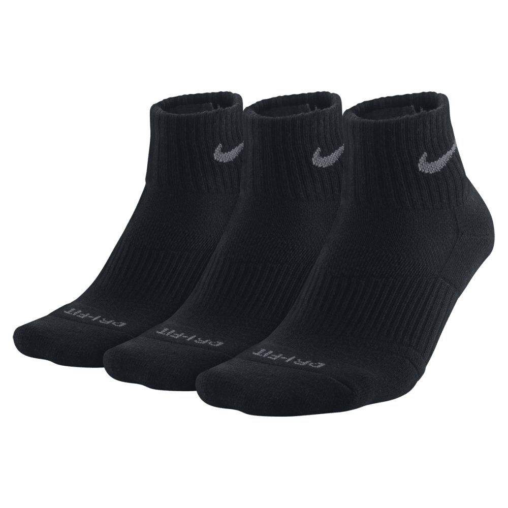 NIKE Men's Dri Fit Quarter Socks, 3 Pairs - BLACK 001 LARGE