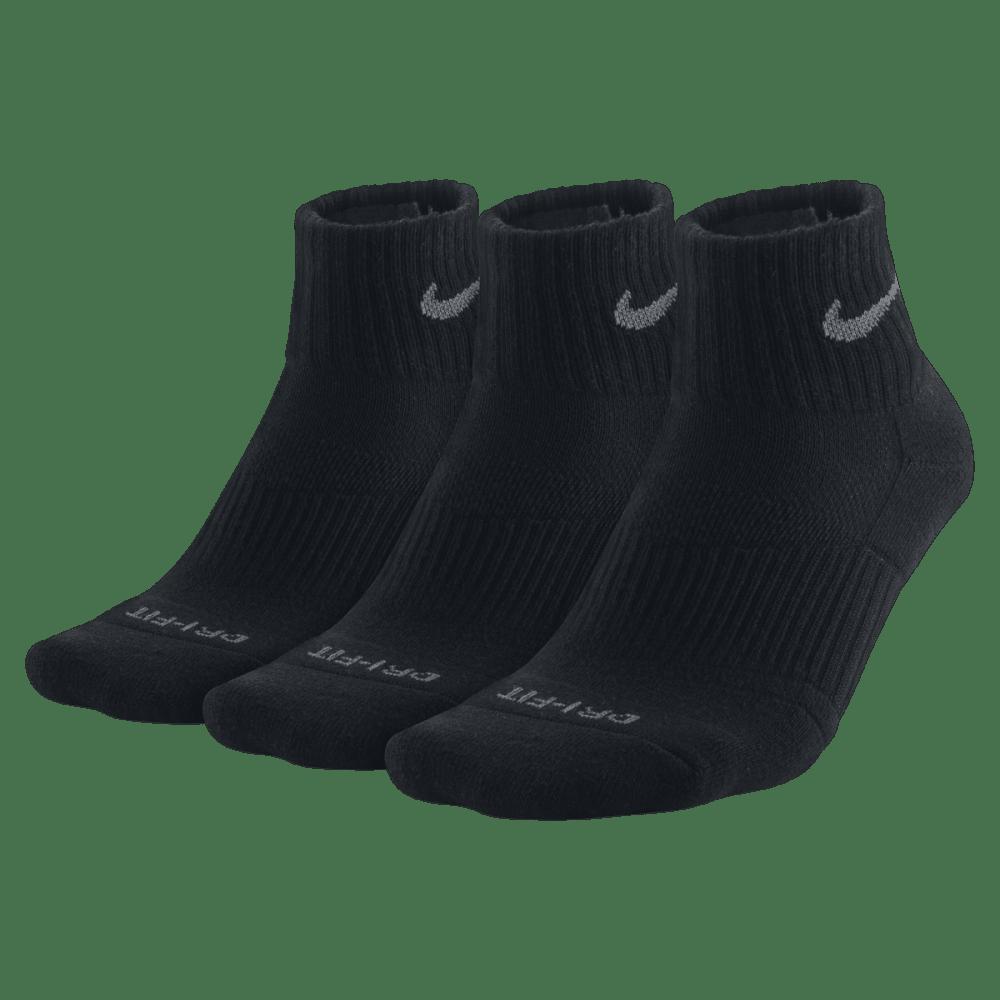 NIKE Men's Dri Fit Quarter Socks, 3 Pairs - BLACK 001 LARGE