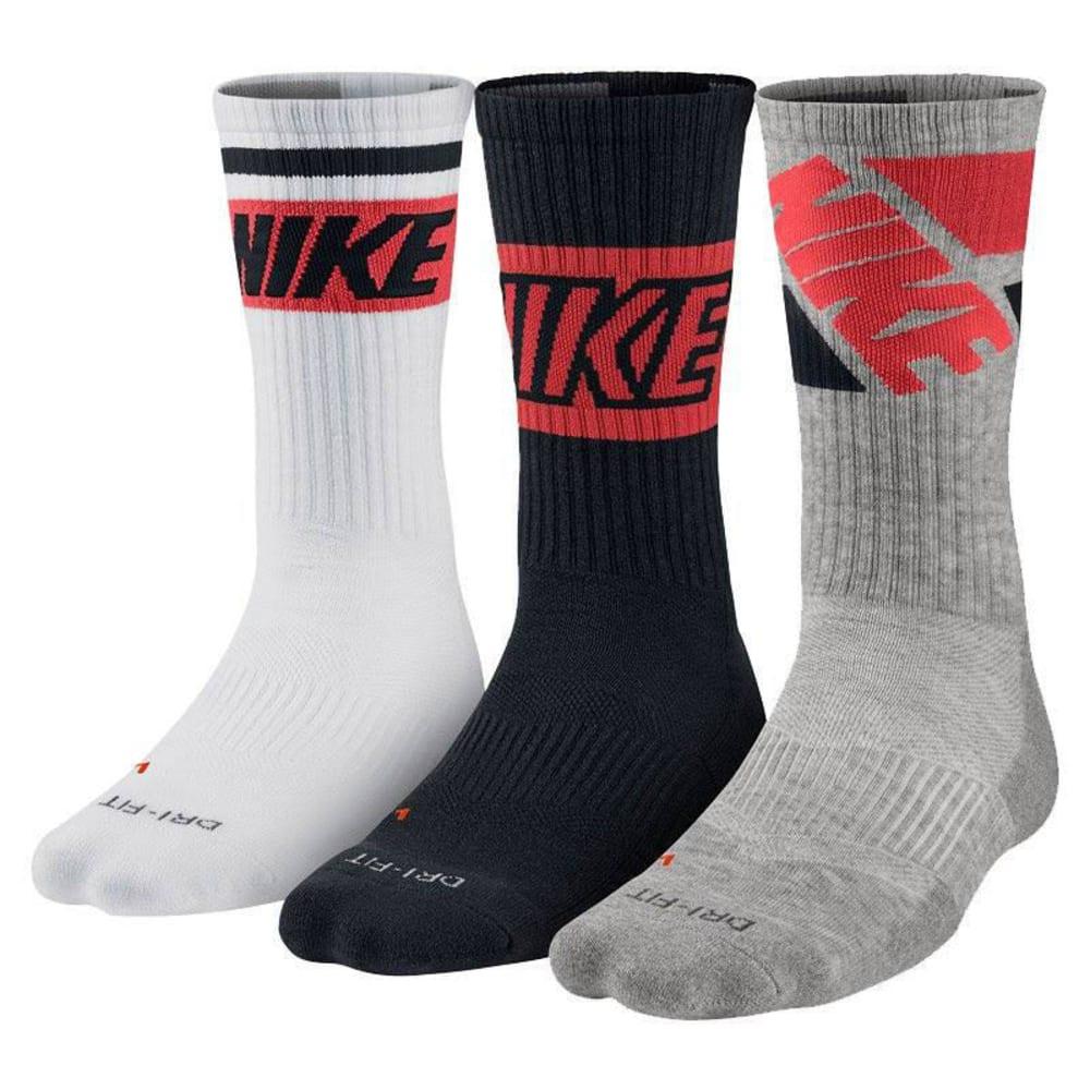 NIKE Men's Fly Rise Crew Socks, 3 Pairs - WHT/CRIMSON 910