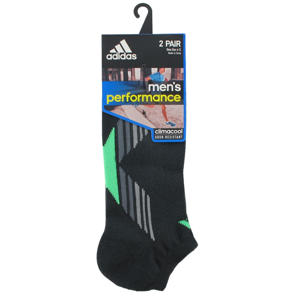 ADIDAS Men's Climacool® X II No Show Socks, 2-Pack - DARK GREY/GREEN