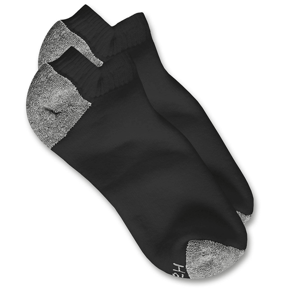 HANES Men's Low Cut Socks, 10-Pack - BLACK