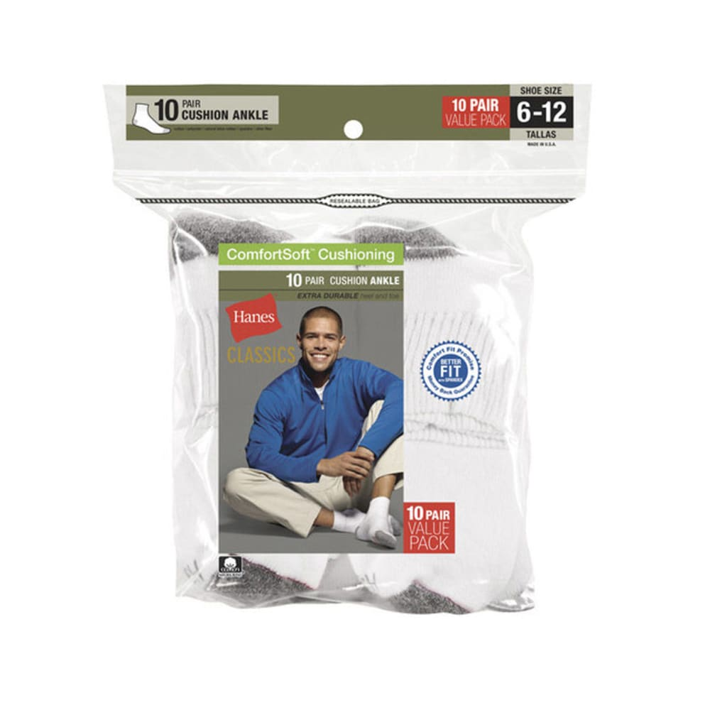 HANES Classics Men's Ankle Socks, 10-Pack  - WHITE
