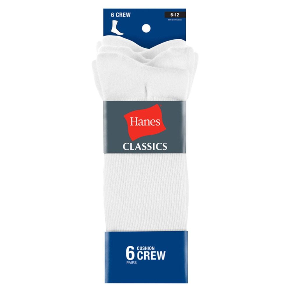 HANES Classics Men's Crew Socks, 6-Pack - WHITE CL84