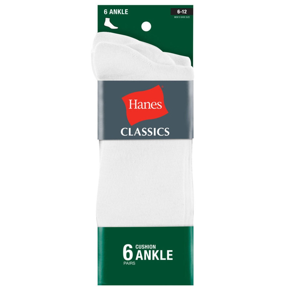 HANES Classics Men's Ankle Socks, 6-Pack - WHITE