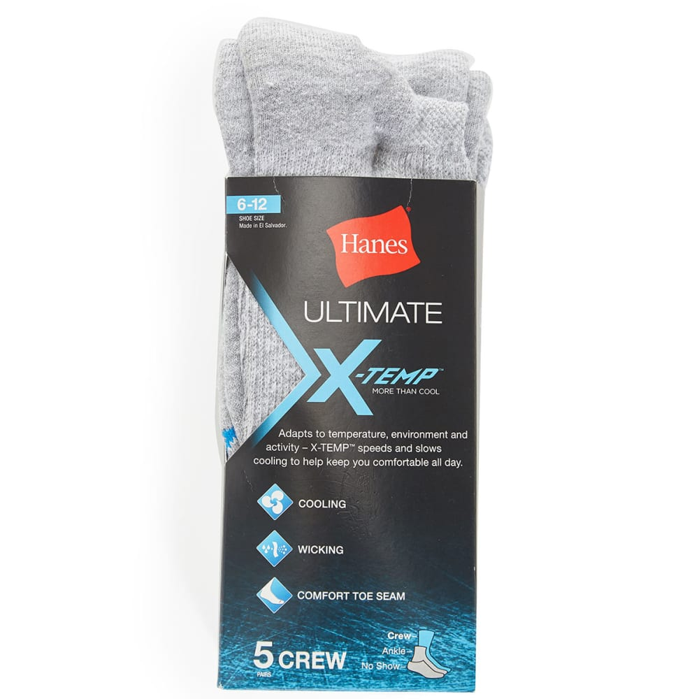 HANES Men's Ultimate X-Temp Crew Socks, 5-Pack - LIGHT GREY U12/5
