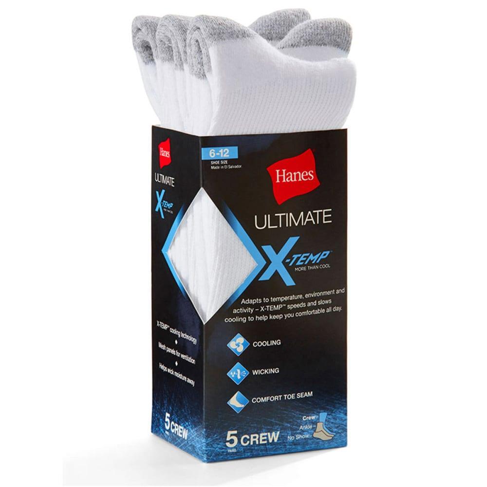 HANES Men's Ultimate X-Temp Crew Socks, 5-Pack - WHITE U10/5