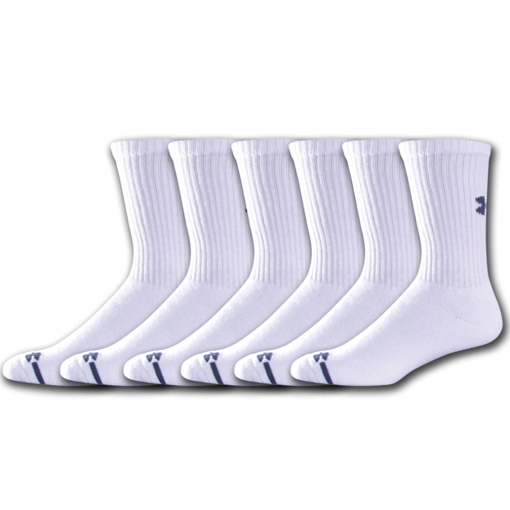 UNDER ARMOUR Men's Charged Cotton® Crew Socks, 6-Pack - WHITE