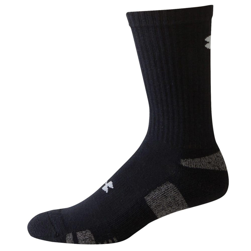 UNDER ARMOUR Men's HeatGear® Crew Socks - BLACK LARGE