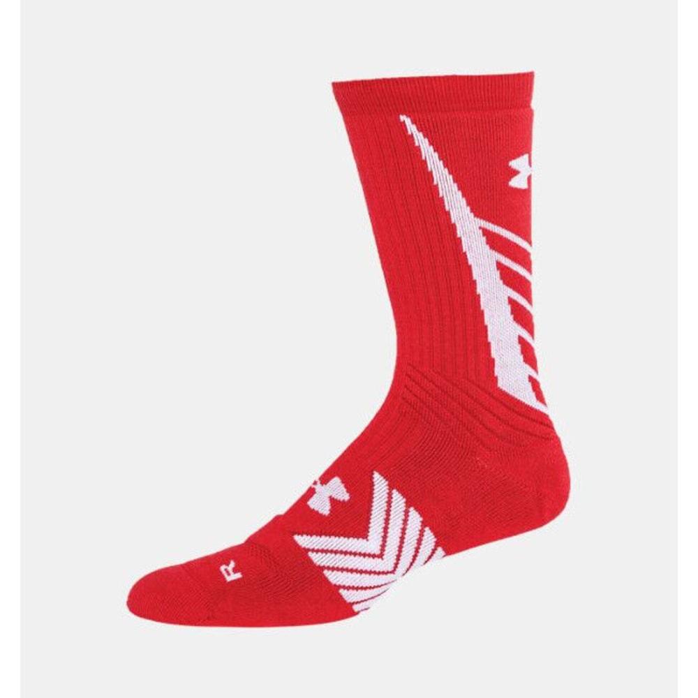 UNDER ARMOUR Men's Undeniable Crew Socks - RED/WHITE