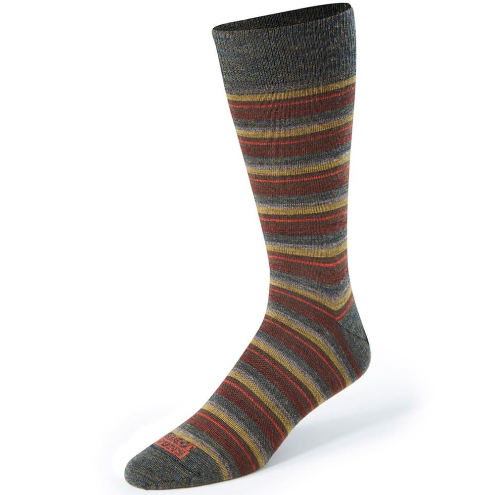 CABOT Men's Multi Stripe Casual Crew Socks - FOREST