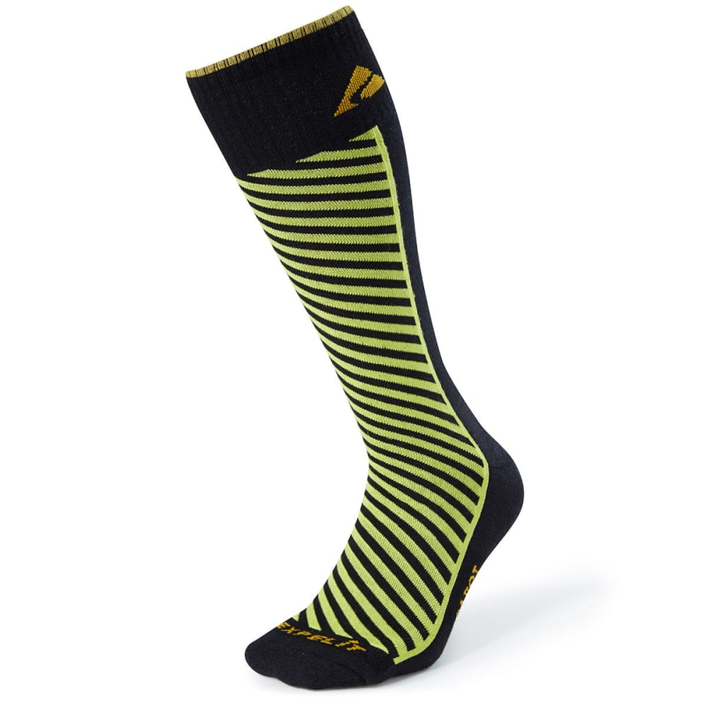 CABOT Men's Diagonal Stripe Ski Socks - BLACK/LIME