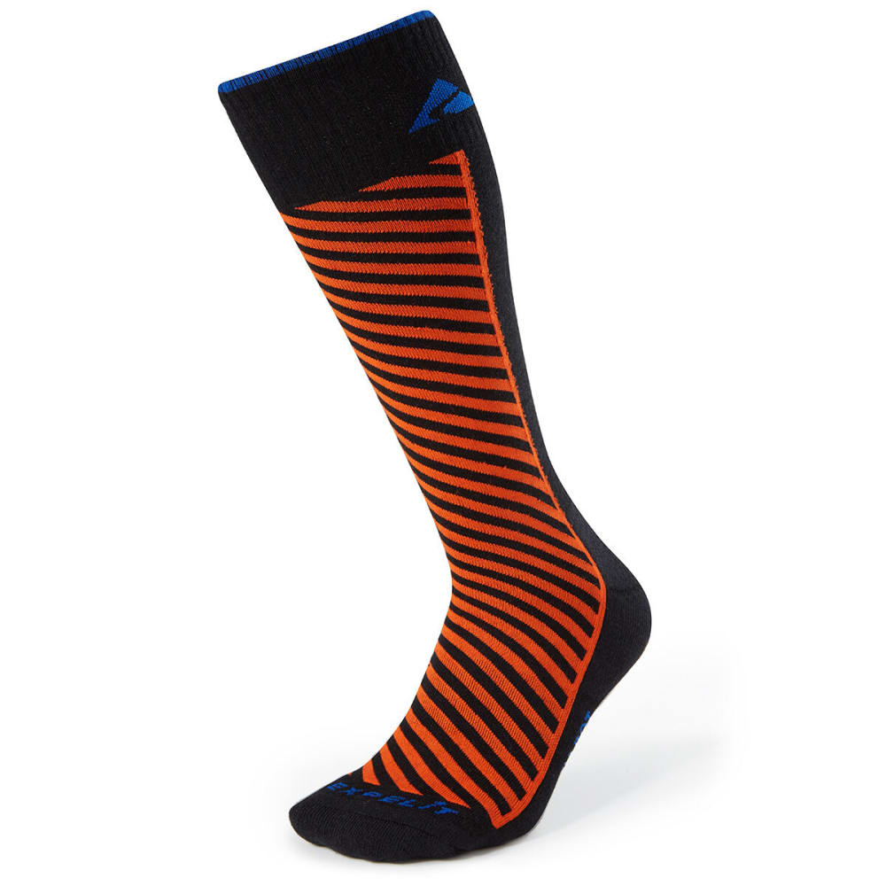 CABOT Men's Diagonal Stripe Ski Socks - BLACK/RED