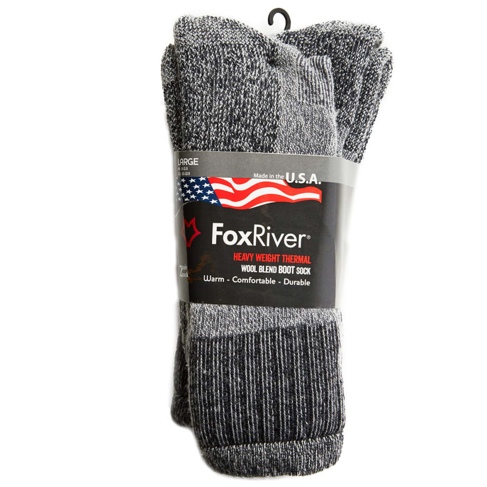 Fox River Mens' 2431 2 Pack Heavy Weight Thermal Wool Blend Boot Sock - GREY