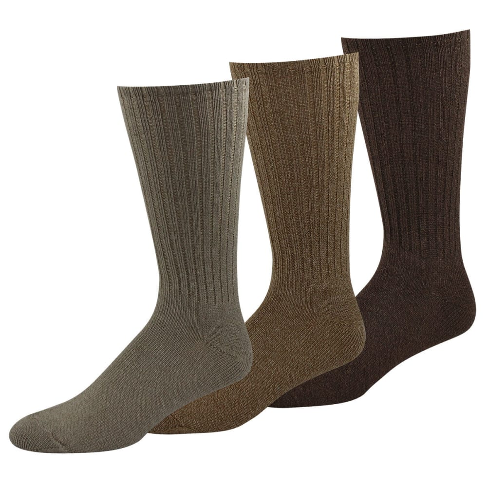 DOCKERS Men's True Crew 3PK Socks - KHAKI 24