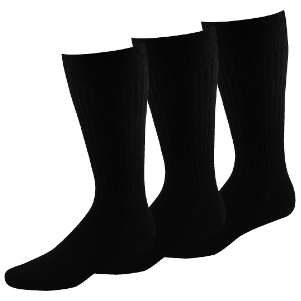 DOCKERS Men's 3 Pack Classic Fremont Rib Socks - BLACK 01