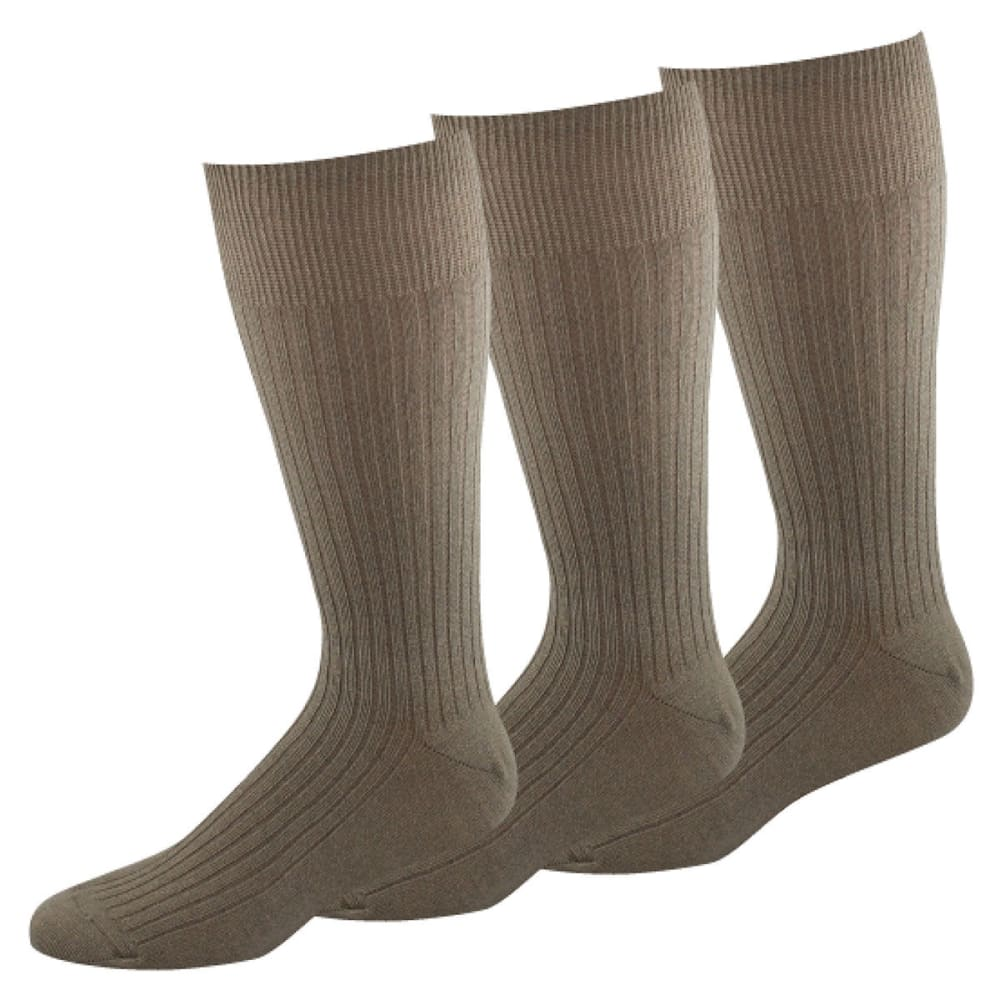 DOCKERS Men's 3 Pack Classic Fremont Rib Socks - TAN 24