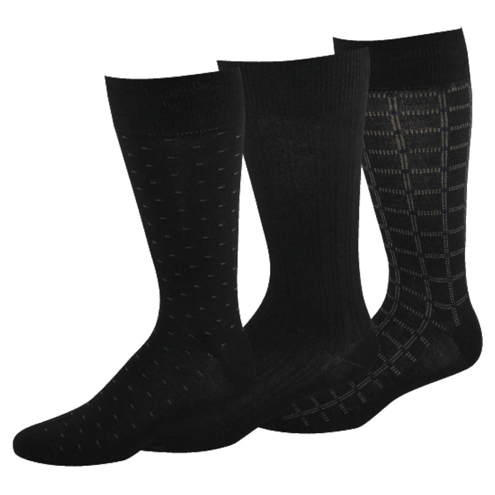 DOCKERS Men's Fancy Crew Socks, 3-Pack - BLACK 01
