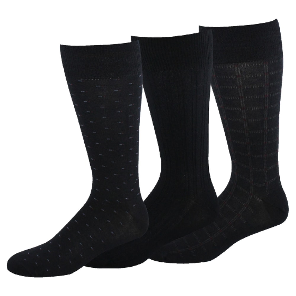 DOCKERS Men's Fancy Crew Socks, 3-Pack - NAVY 41