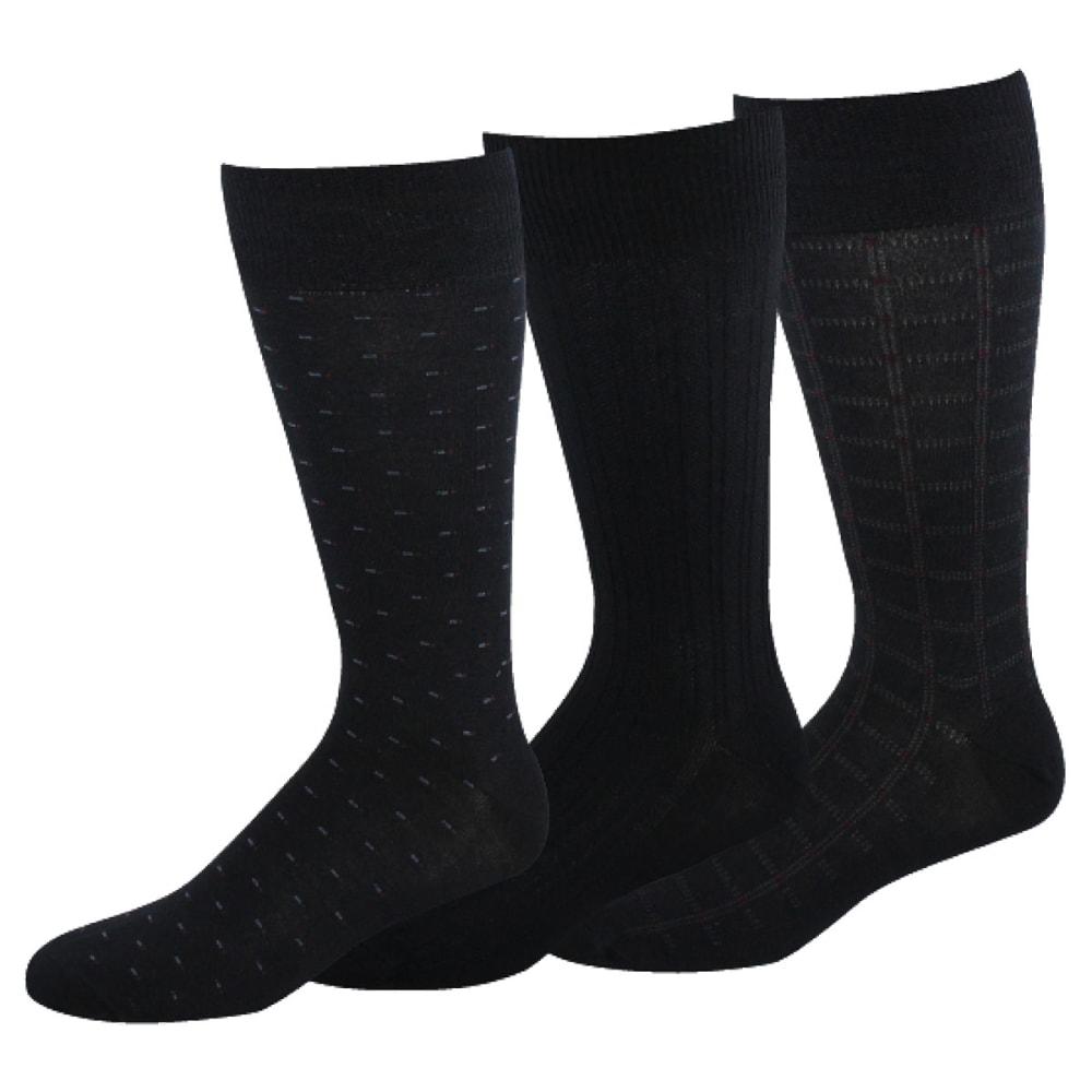 DOCKERS Men's Fancy Crew Socks, 3-Pack - NAVY 41