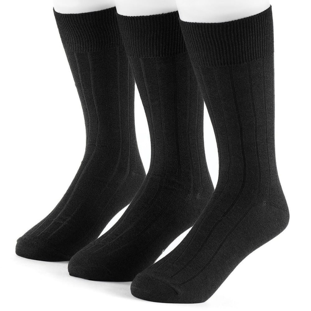 Dockers Men's 3 Pack Classics Essential Rib Crew Socks - Black, 10-13